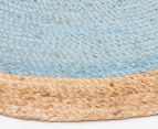 Contemporary 150x150cm Handmade Jute Rug - Blue 3