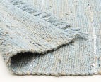 Soft Metallic 220x150cm Handmade Jute & Leather Rug - Blue 4