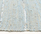 Soft Metallic 270x180cm Handmade Jute & Leather Rug - Blue 3