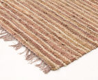 Handmade 220x150cm Leather & Jute Rug - Brown 2