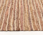 Handmade 220x150cm Leather & Jute Rug - Brown 3