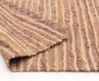 Handmade 220x150cm Leather & Jute Rug - Brown 4