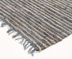 Handmade 270x180cm Leather & Jute Rug - Grey 2