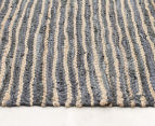 Handmade 270x180cm Leather & Jute Rug - Grey 3