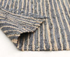 Handmade 320x230cm Leather & Jute Rug - Grey 4