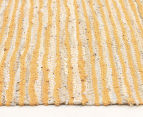 Handmade 270x180cm Leather & Jute Rug - Yellow 3