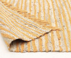 Handmade 270x180cm Leather & Jute Rug - Yellow 4