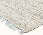 Handmade 270x180cm Leather & Jute Rug - Sea Blue 2