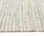 Handmade 270x180cm Leather & Jute Rug - Sea Blue 3