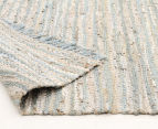 Handmade 270x180cm Leather & Jute Rug - Sea Blue 4