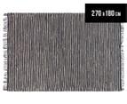 Handmade 270x180cm Leather & Jute Rug - Black/Natural 1