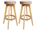 2 x Wooden Padded Fabric Swivel Bar Stools - Taupe 1