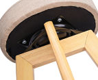 2 x Wooden Padded Fabric Swivel Bar Stools - Taupe 3