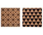 Set Of 4 Geometric Design 9x9cm Square Cork Coasters 4