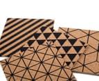 Set Of 4 Geometric Design 9x9cm Square Cork Coasters 6