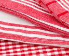 RANS Milan Stripe & Check Tea Towels 5-Pack - Red 3