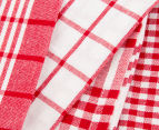 RANS Milan Stripe & Check Tea Towels 5-Pack - Red 4