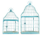 Set of 2 Nested Wall Shelf Aged Birdcages - Distressed Blue 3