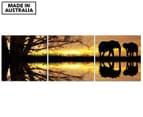 3-Part Wall Canvas Set 57x57cm - Elephants at Sunset 1