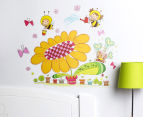 Cartoon Flower & Bee Wall Decal/Sticker 1