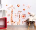 Three Orange Giraffes & Flowers Decal/Sticker 1