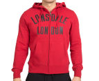 Lonsdale Men's Aiden Zip Hoodie - Deep Red/Black 2