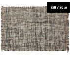 Handwoven Pure Wool Flatweave 280x190cm Rug - Slate 1