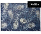 Urban Floor Art Peacock Feathers 290x200cm Jute Rug - Navy 1