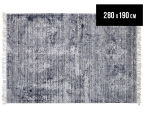 Handwoven Viscose & Cotton Flatweave 280x190cm Rug - Navy 1