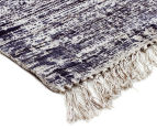 Handwoven Viscose & Cotton Flatweave 280x190cm Rug - Navy 2