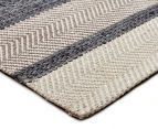 Handwoven Cotton & Wool Flatweave 320x230cm Rug - Blue 2