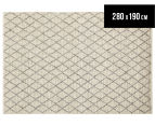 Handwoven Viscose & Wool 280x190cm Rug - Ivory 1