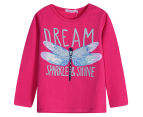 Funkybabe Junior Butterfly Long Sleeve Tee - Raspberry 1