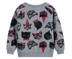 Funky Babe Kids' All Over Cat Jumper - Grey Marle 2