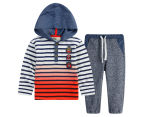 BQT Baby Striped Top & Jogger Set - Navy 1