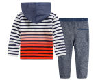 BQT Baby Striped Top & Jogger Set - Navy 2