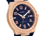 LORUS Men's 46mm Watch - Navy/Rose Gold 2