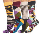 Happy Socks Men's EU Size 41-46 Bark Crew Sock 4-Pack - Multi 1
