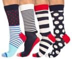 Happy Socks Men's EU Size 41-46 Stripe Crew Sock 4-Pack - Red/White/Blue 1