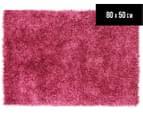 Metallic 80x50cm Chunky & Thin Shag Rug - Pink 1