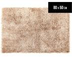 Metallic 80x50cm Chunky & Thin Shag Rug - Cream 1