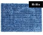 Metallic 80x50cm Chunky & Thin Shag Rug - Blue 1