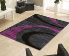 Gentle Swirls 170x120cm Shag Rug - Charcoal/Purple 2