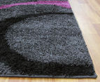 Gentle Swirls 170x120cm Shag Rug - Charcoal/Purple 3