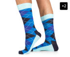 2 x Happy Socks Men's EU Size 41-46 Argyle Crew Socks - Blue/Light Blue/Black 1