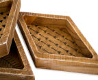 3-Part Decorative Timber Trays - Brown 5