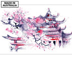 Temple Watercolour 90x59cm Canvas Wall Art 1
