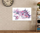 Temple Watercolour 90x59cm Canvas Wall Art 2
