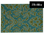 Falling Leaves 270x180cm UV Treated Indoor/Outdoor Rug - Green/Blue 1
