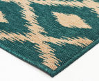 Diamonds 160x110cm UV Treated Indoor/Outdoor Rug - Teal 2